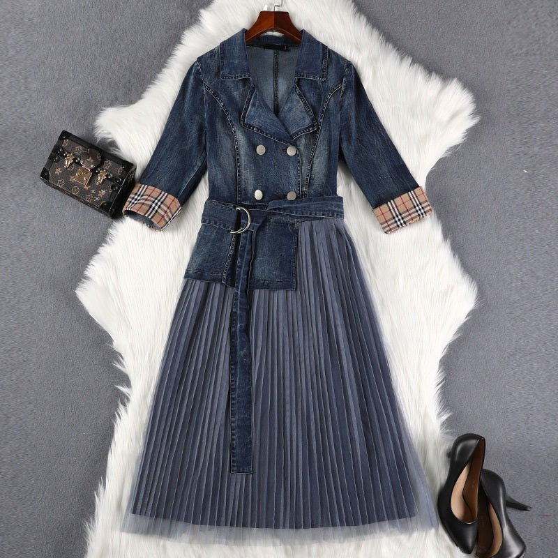 Sashi Denim and Tulle Double Breast Tuxedo Mid Sleeve Midi Dress