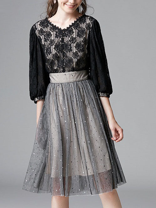 Shoshannah Shimmer Lace V Neck Lace Tulle Frock Mid Sleeve Dress