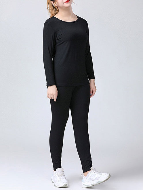 (XL-12XL)Suzana Plus Size Basic / Lounge Black Long Sleeve T Shirt Top And Black Leggings Tights Pants Set (EXTRA BIG SIZE)