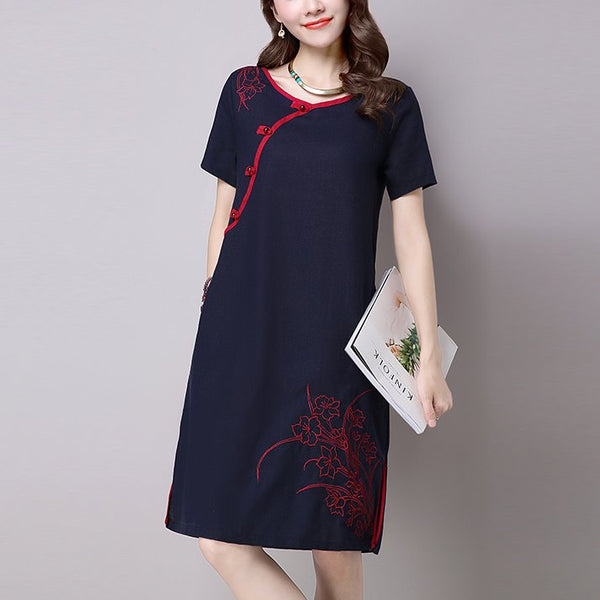 Plus Size Casual Modern Short Sleeve Dress Cheongsam