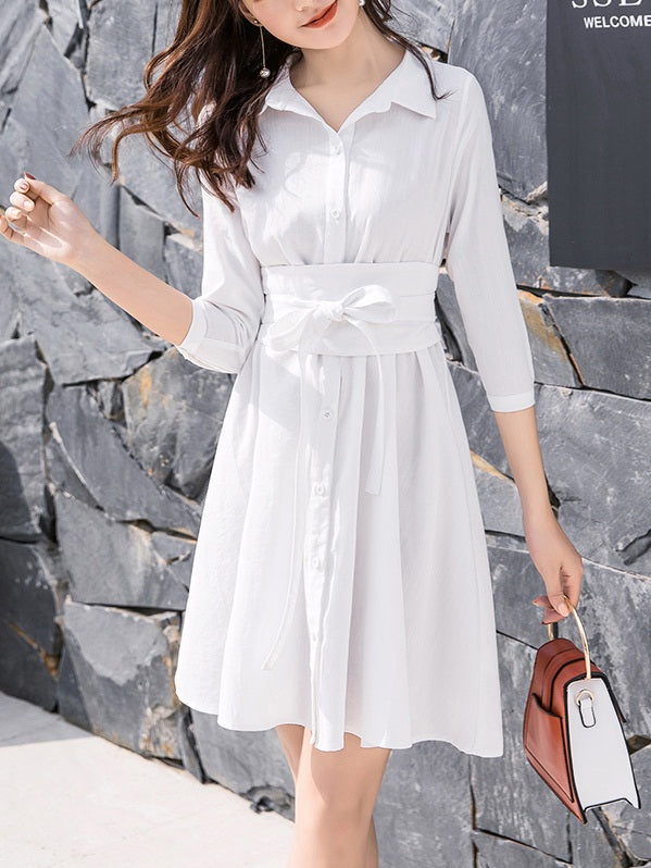 Riko Belted Swing Mid Sleeve Shirt Dress (Black, White)