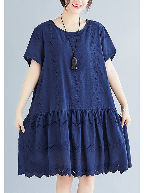 Xavière Plus Size Blue Cutout Cotton Lace Frill Hem Babydoll Short Sleeve Dress (EXTRA BIG SIZE) (Blue)