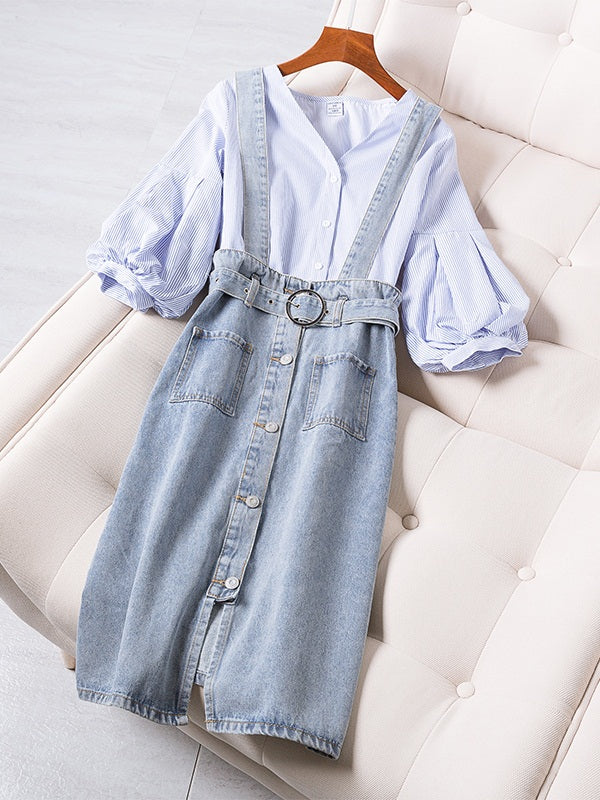 Zelia Plus Size Balloon Sleeve V Neck Blue Buttons Mid 3/4 Sleeve Blouse and Plus Size Denim Suspender Skirt Set