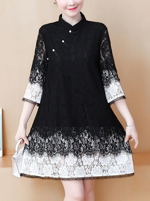 (Bust 104-120 CM) Tori Plus Size Black and White Lace Cheongsam Qipao Bell Sleeve Mid Sleeve Dress (Black)