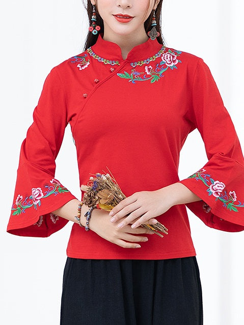 Tinaya Plus Size Cheongsam Qipao Top - Floral Ethnic Chinese Embroidery Long Sleeve Top (Red, Black) (Suitable For Chinese New Year)