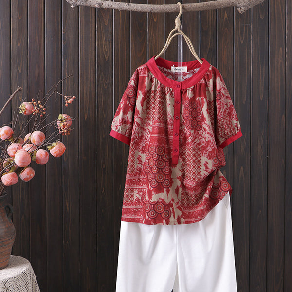 Plus Size Chinese Oriental Short Sleeve Blouse
