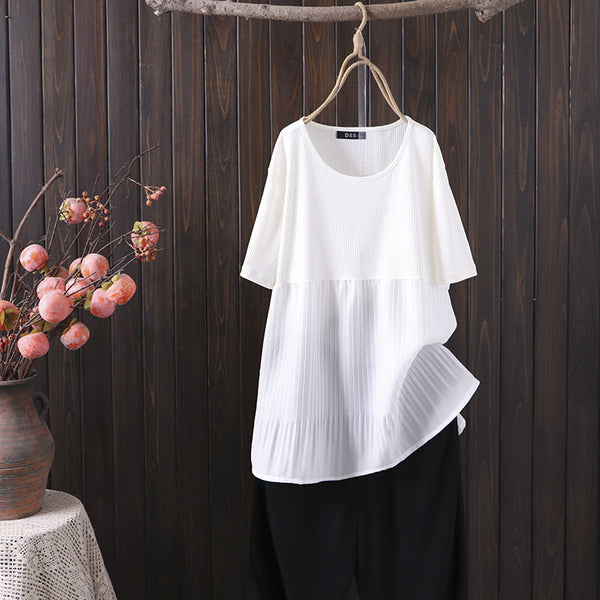 Plus Size Pleat Layer Short Sleeve Blouse