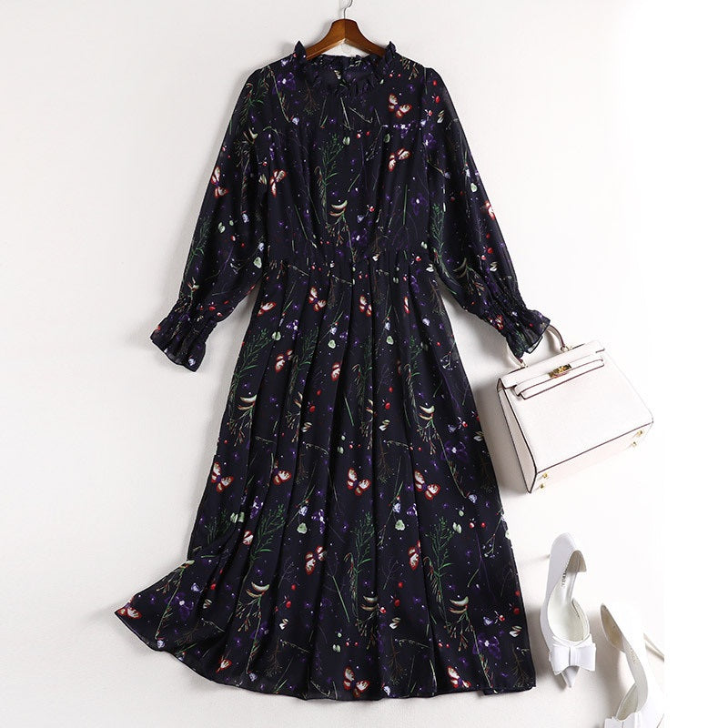 Sharron Navy Blue High Neck Balloon Sleeve Butterfly and Flower Print L/S Midi Dress