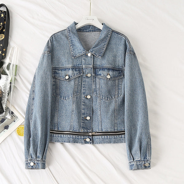 Kitty Plus Size Zipper Denim Jacket