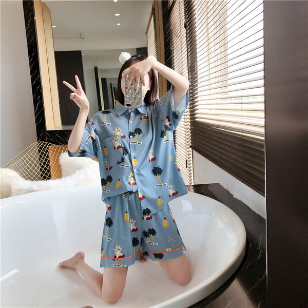 Keyna Plus Size Cute Japanese Print Short Sleeve Shirt Blouse And Shorts Pyjamas Set