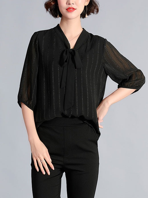Rolande Stripe Pussybow Mid Sleeve Blouse