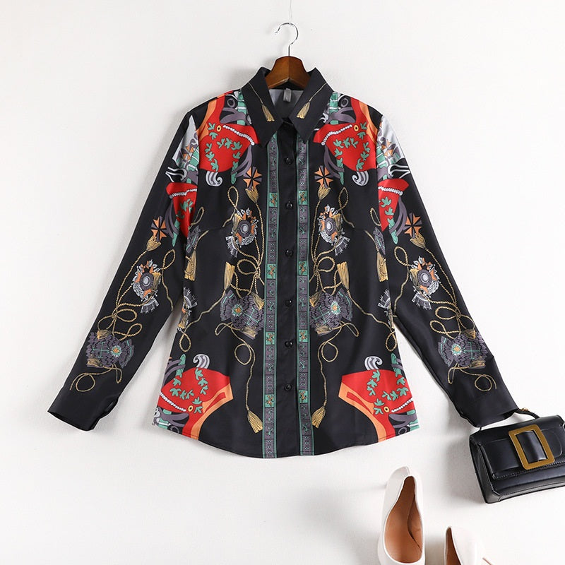 Shenandoah Royal Print L/S Shirt Blouse
