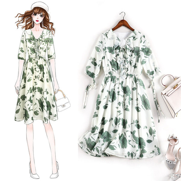 Eeva Plus Size Green Floral Chiffon Mid Sleeve Dress