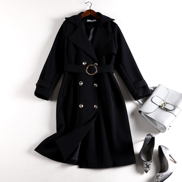 Suheily Plus Size Double Breast Long Belted Autumn Trench Coat