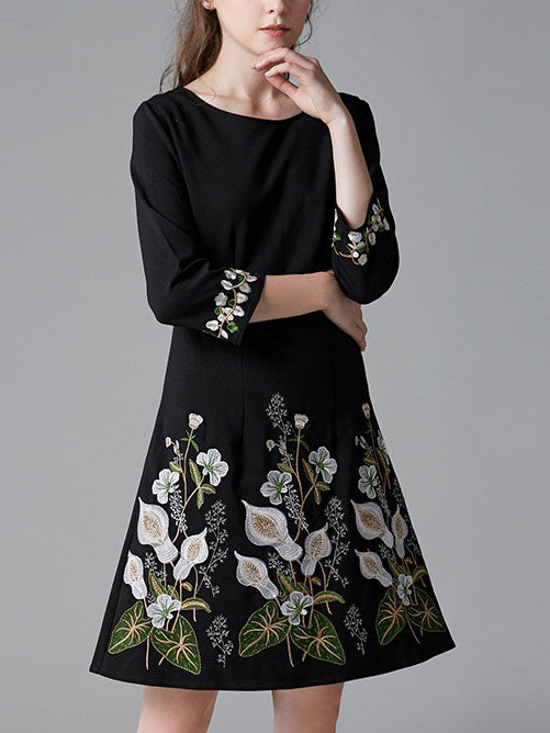 Shree Black Floral Embroidery Mid Sleeve Midi Dress