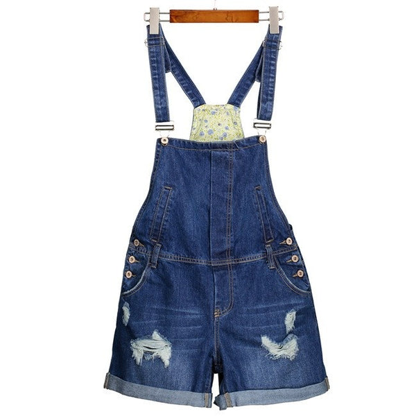 Cella Plus Size Denim Ripped Jumper Overalls Shorts
