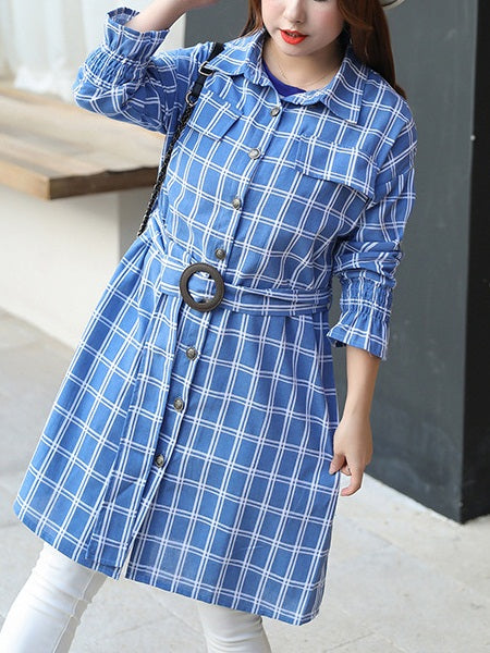 Taite Plus Size Light Blue Checks Belted Long Sleeve Shirt Blouse / Jacket