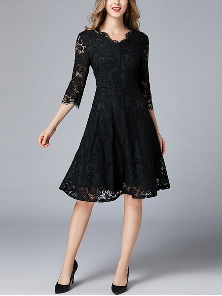 Black Lace Swing Plus Size Formal Occasion Bridesmaid Mid Sleeve Dress