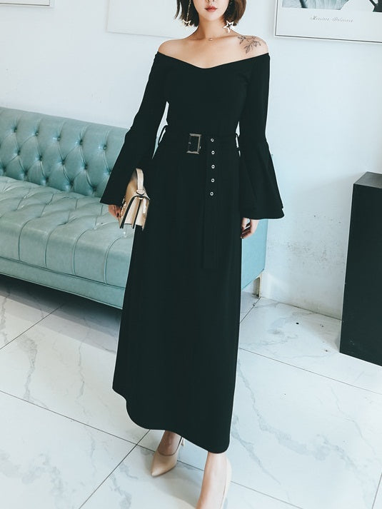 Mayim Off Shoulder Bell Sleeve Maxi Dress