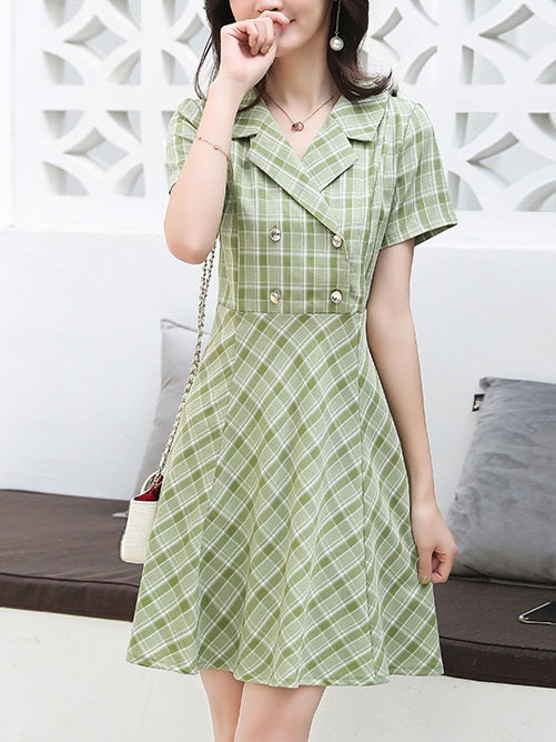 Lezlie Plus Size Korean Green Tuxedo Shirt Dress