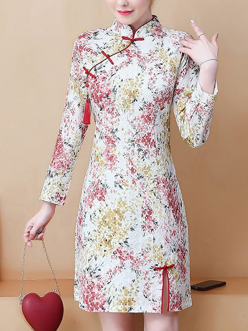 Lessia Plus Size Crochet Floral Long Sleeve Dress Cheongsam
