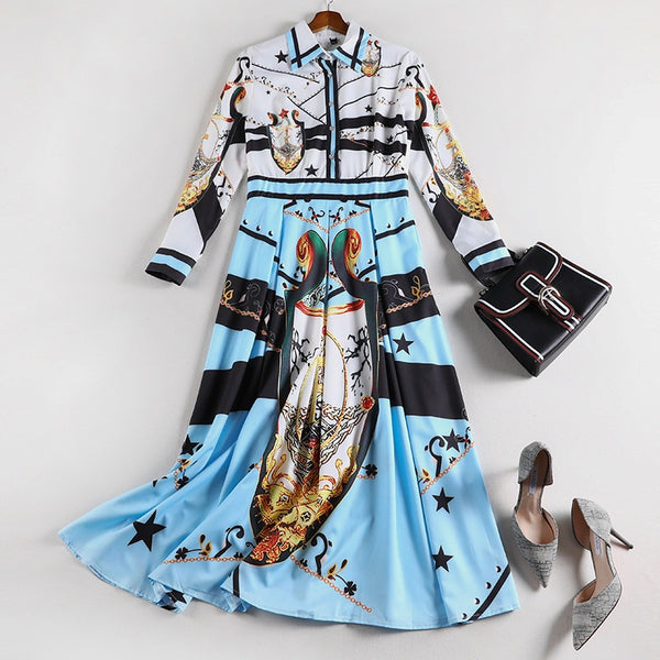 Súil Plus Size Print Pleat Long Sleeve Midi Dress