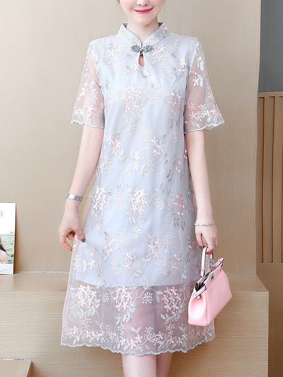 Tamaliah Plus Size Cheongsam Qipao Chinese New Year Scallop Floral Oriental Embroidery Lace Short Sleeve Midi Dress (Green Leaf, Grey Leaf)