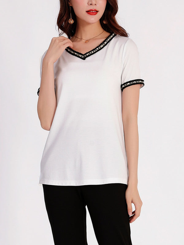Raelle V Neck Pearl and Tweed White S/S Tee Shirt
