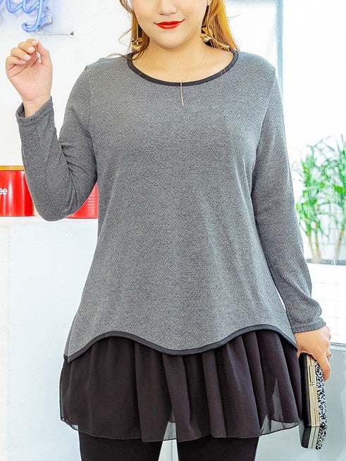 Siouxsie Knit Chiffon Hem Tunic L/S Top (EXTRA BIG SIZE)