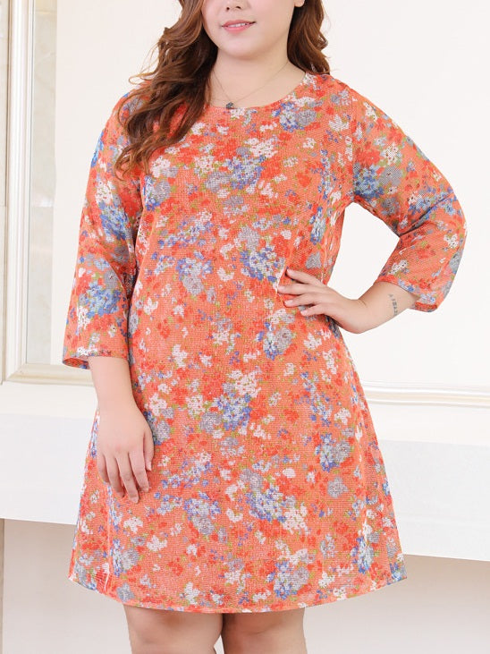 Setota Orange Floral Print Shift Mid Sleeve Dress (EXTRA BIG SIZE)