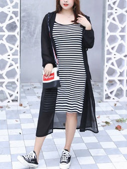 Taitum Plus Size Street Wear 2 Piece Stripe Knit Sleeveless Dress And Long Length Hoody Jacket (White, Black)