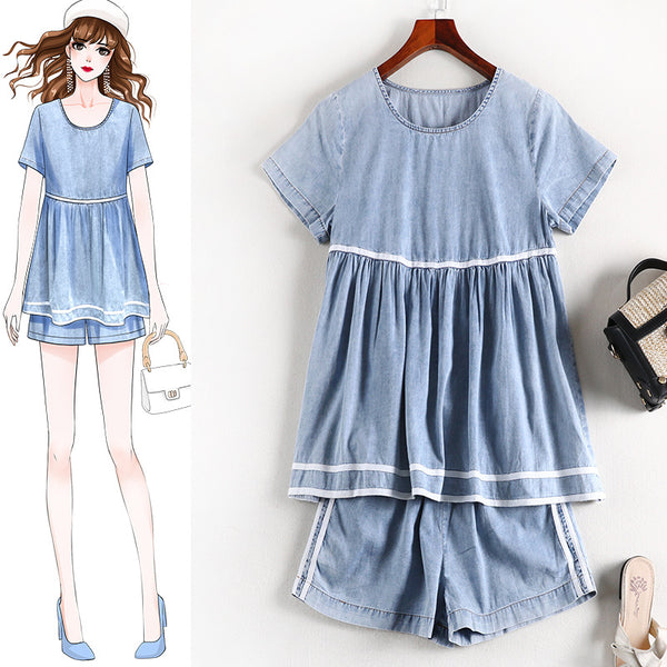 Reanne Washed Denim S/S Top and Shorts Set