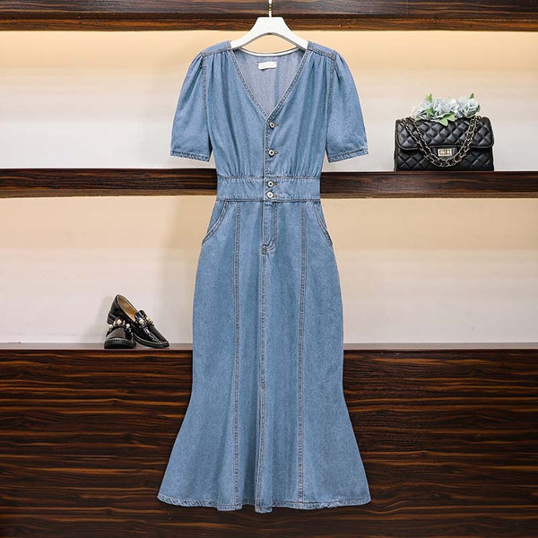 Hentietta Plus Size Denim Mermaid Midi Dress