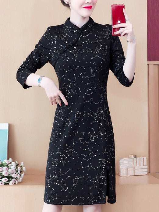 Lessie Plus Size Black Modern Long Sleeve Dress Cheongsam