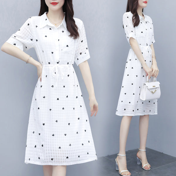 Korinne Plus Size Hearts Print White Short Sleeve Shirt Dress