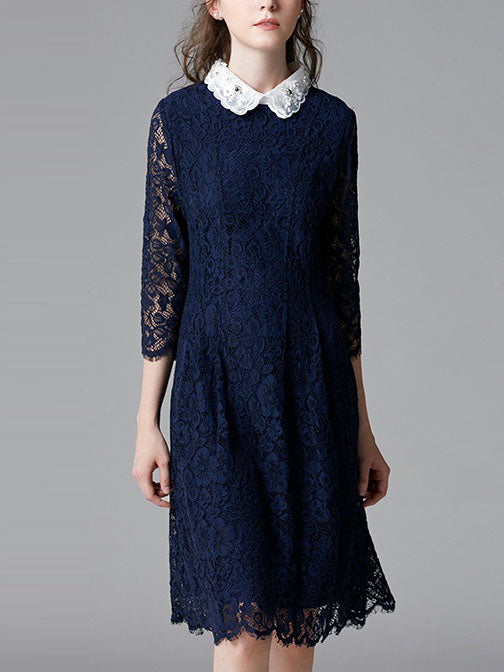Shreeya Diamante Removable Collar Blue Lace Pleat Mid Sleeve Shirt Dress