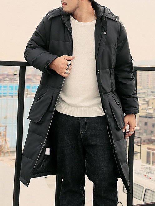 Men's Plus Size Hoody Long Length Padded Hoody Windbreaker Minimalist Simple Design Winter Jacket with Pockets (Black)