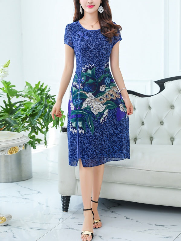 Tecla Plus Size Cheongsam Floral Print Short Sleeve Dress (Suitable For Chinese New Year, Office) (Red, Blue, Green)