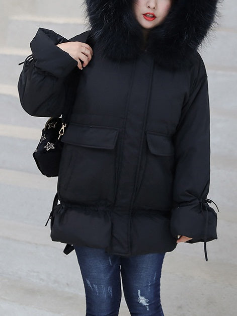 Stef Plus Size Women's Black Winter Jacket Coat Fur Hoody Short Length
