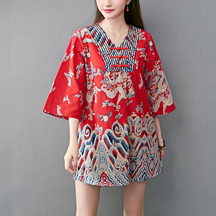 Plus Size Oriental Mini Dress / Tunic Mid Sleeve Top