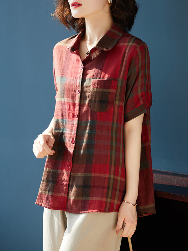 Kornelia Plus Size Checked Short Sleeve Shirt Blouse