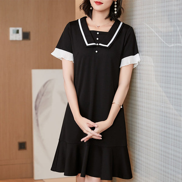 Amaranda Plus Size Black Pearl Buttons Pleated Sleeve Short  Sleeve Dress