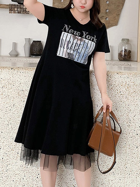 Prune New York Tulle Black Tee Dress