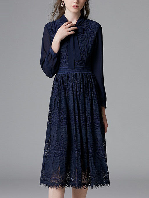 Shreya Blue Pussybow Eyelash Lace L/S Midi Shirt Dress