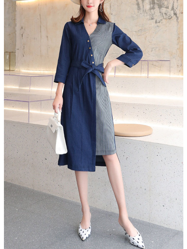 Rosetti Stripes and Blue Denim Mid Sleeve Midi Shirt Dress