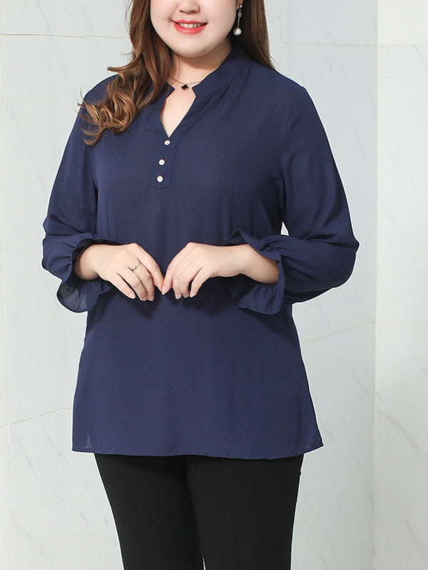 Vanja Plus Size Buttons V Neck Long Sleeve Blouse (Blue Print, Black, Blue)