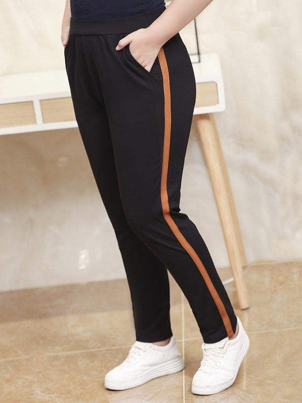 Skylar Winter Fleece Inside Thick Brown Stripe Track Pants