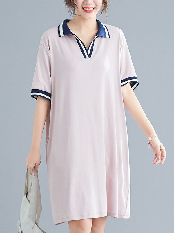 Xenia Plus Size Pink Modal Cotton Short Sleeve Polo T Shirt Dress (EXTRA BIG SIZE) (Blue)