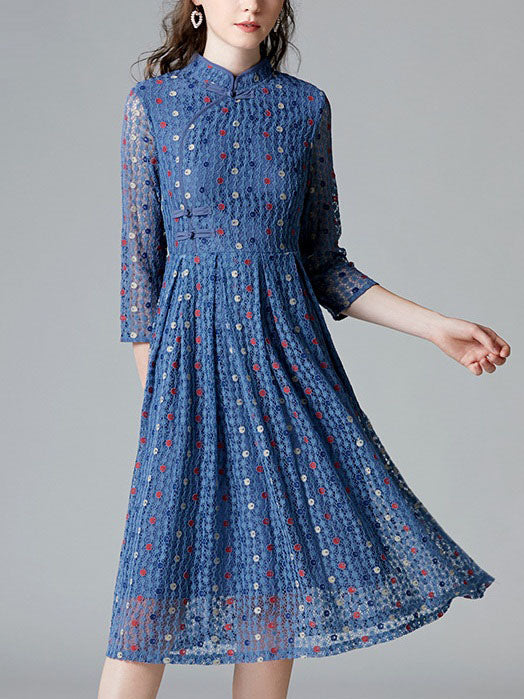 Shrijani Blue Lace Pleat Qipao Cheongsam Mid Sleeve Dress