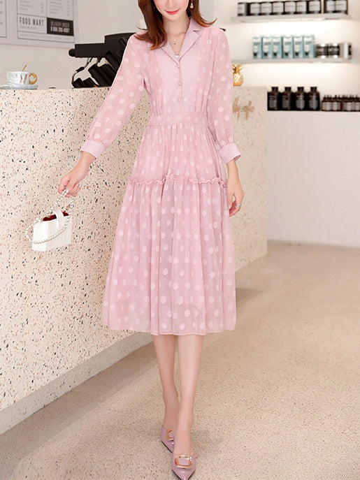 Rosewillow Trench Polka Dots Swing Mid Sleeve Midi Dress (Pink, Cream)